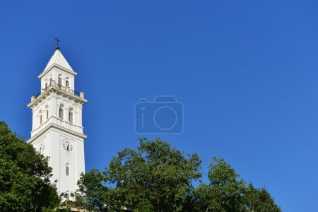 white  tower with clock