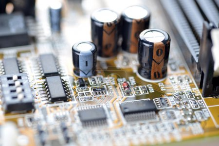 Photo for Close-up of electronic mother board of computer - Royalty Free Image