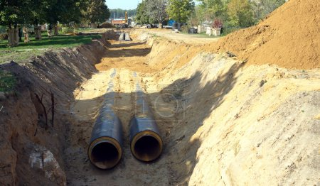 New water pipes mounting in a ground