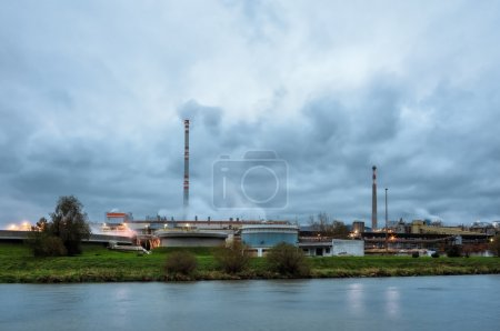 Pulp mill on the banks of the river.