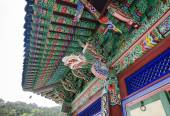Roof of Buddhist Sinheungsa Temple in Seoraksan National Park, South Korea