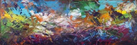 Photo pour Panorama abstrait des fonds marins avec le panneau horizontal des navires coulés. Art acrylique peint à la main sur toile - image libre de droit