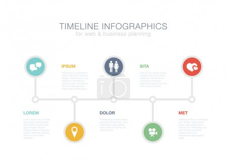 Timeline Infographics vector design template for financial repor