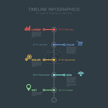 Timeline Infographics tree view vertical vector design template