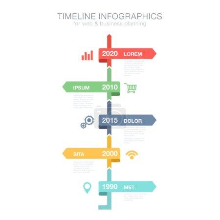 Timeline Infographics vertical vector design template for busine