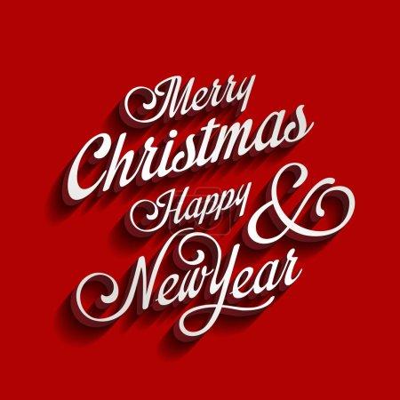 Illustration pour Joyeux Noël et bonne année type typographie calligraphique. Salutations Carte d'invitation élément calligraphie classique vintage style rétro design . - image libre de droit