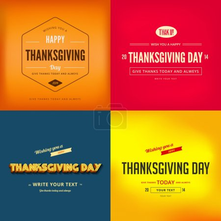 Illustration for Happy Thanksgiving Day Typography Greeting card Poster design templates set - Royalty Free Image