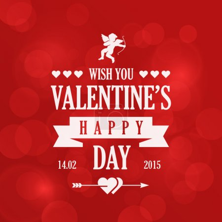 Illustration for St. Valentine Day Vintage Retro Typography Lettering Design Greeting Card on Bokeh background. - Royalty Free Image