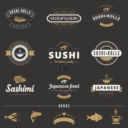 Sushi Rolls Sashimi Hipster Logo design vector typography letter