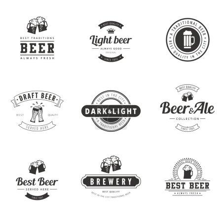 Illustration pour Beer Hipster Logo design vectoriel typographie lettrage modèles. Etiquettes Vintage Rétro Ale & Brewery - image libre de droit