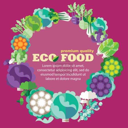 Illustration pour Aliments écologiques (légumes, famille des choux). Modèle de conception vectorielle avec place pour votre texte - image libre de droit