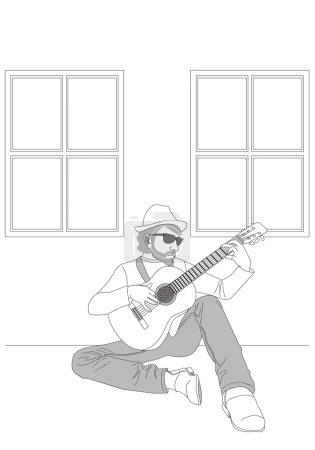 illustrated man playing guitar
