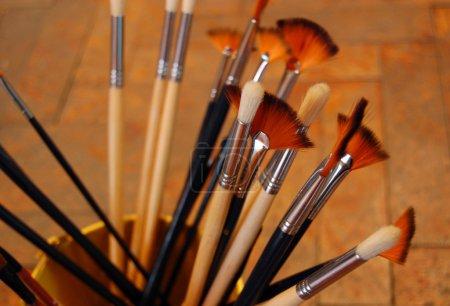 Closeup of artistic brushes