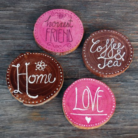 Badges with words home, love, coffee and tea