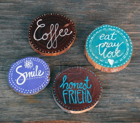 Badges with words smile, coffee, honest friend