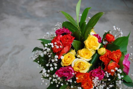 Photo for Beautiful bouquet of colorful flowers for birthday - Royalty Free Image