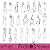 Set of beautiful fashion girls