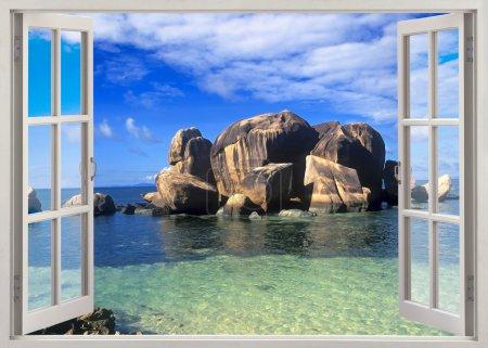 Open window view to sea coastline