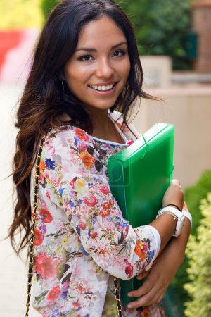 Photo for Outdoor portrait of pretty student girl in the street. - Royalty Free Image