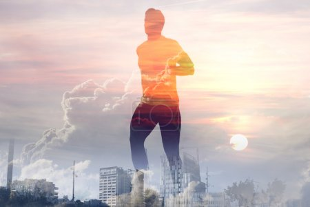 Double exposure of healthy young man running after work.