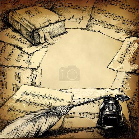 Photo pour Contexte avec des notes, vieux livre et plume et espace libre fot votre texte possible à l'intérieur - image libre de droit