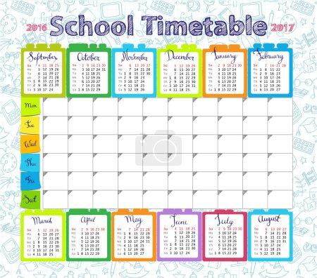 Illustration pour Calendrier de timetableand scolaire modèle 2016-2017 pour les étudiants ou les élèves avec les jours de semaine et des places gratuites pour les notes. - image libre de droit