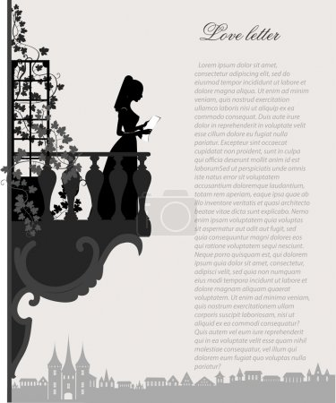 Illustration for Woman silhouette read love letter on balcony,vector illustration - Royalty Free Image