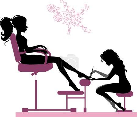 Illustration pour Illustration de la silhouette d'une fille qui fait une pédicure au salon de beauté - image libre de droit