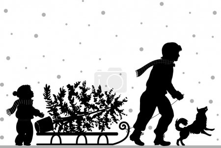 Dad and daughter carry tree
