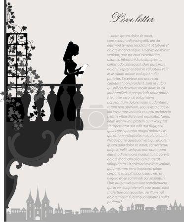 Illustration pour Silhouette vectorielle de la fille de lecture sur le balcon - image libre de droit