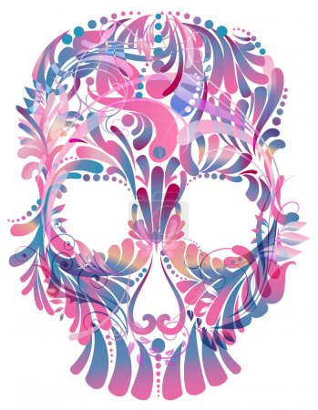 Illustration for Skull with floral pattern on white background - Royalty Free Image
