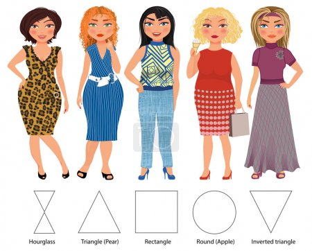 Illustration for Types of female figures: hourglass, triangle, rectangle, round and inverted triangle - Royalty Free Image