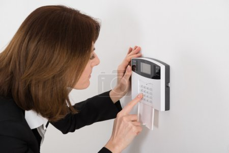 Woman with Security System