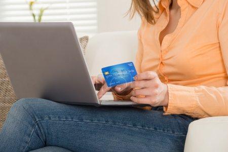 Woman Shopping On Laptop