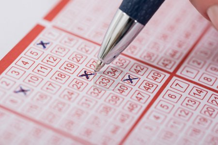 Woman Marking Number On Lottery