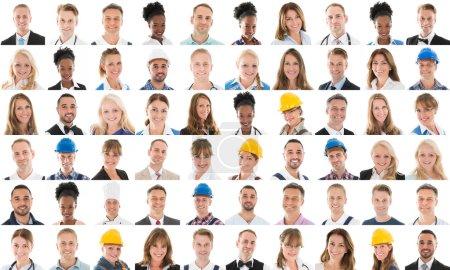Photo pour Collage du sourire des gens avec différente Profession Over White Background - image libre de droit