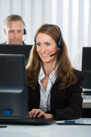 Call Center Executive Working In Office