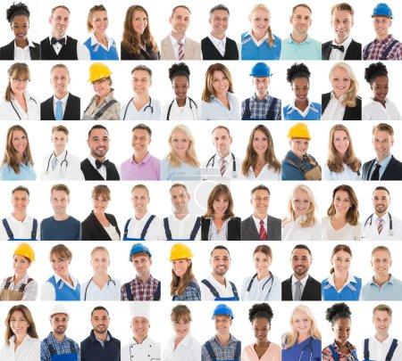 Photo pour Ensemble de personnes avec différentes professions dans la rangée sur fond blanc - image libre de droit
