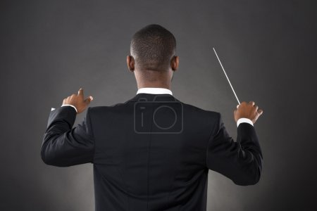 Conductor Directing With His Baton