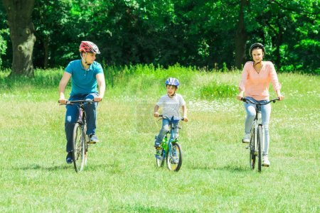 Boy With Parents Riding Bicycle