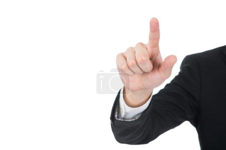 Photo pour Image recadrée d'un homme d'affaires touchant un écran transparent sur fond blanc - image libre de droit