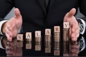 Üzletember fizetés blokkok a halmozott érmék védelme