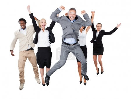 Photo pour Portrait of successful business team with arms raised standing over white background - image libre de droit