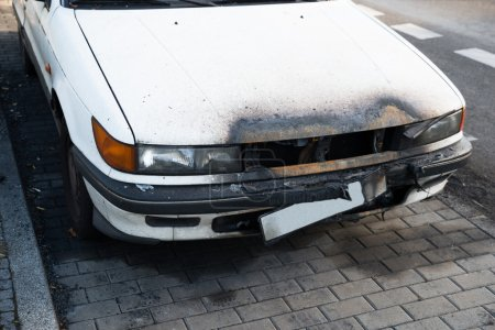Damaged Car On Street
