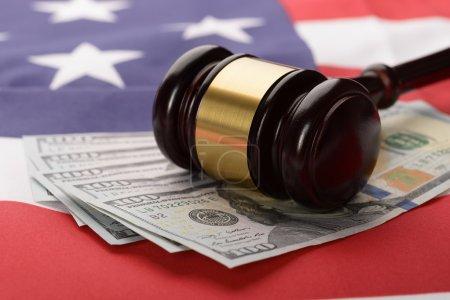 Gavel On Usa Dollar Banknotes