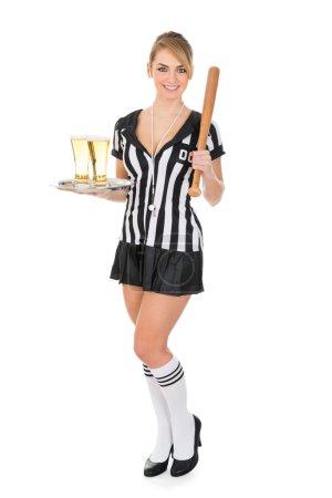 Referee With Beer And Baseball Bat