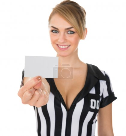 Female Referee Showing Card