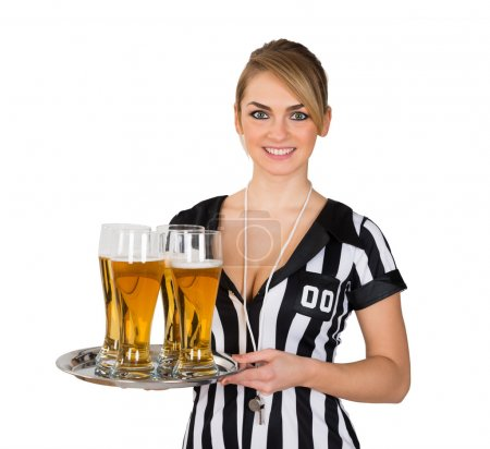 Female Referee With Glasses Of Beer