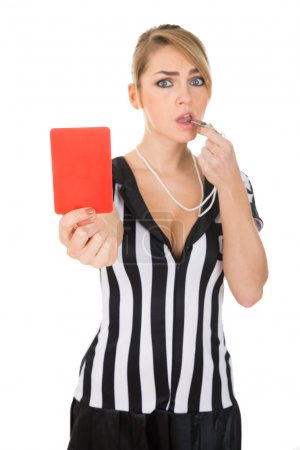 Female Referee With Red Card