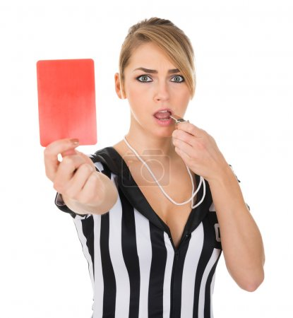Referee With Red Card And Whistle